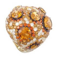 Roberto Coin 18 Karat Gold Orange Citrine and Topaz and Diamond Cocktail Ring