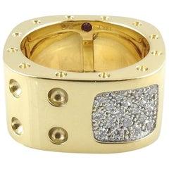 Roberto Coin 18 Karat Gold Pois Moi Pave Diamond Square Double Row Band Ring