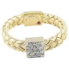 Roberto Coin 18 Karat Gold Primavera Basket Weave Band 1 Diamond Station Ring