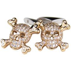 Roberto Coin 18 Karat Rose and White Gold Diamond Skull Cuff Links