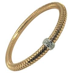"Roberto Coin 18 Karat Rose Gold and Diamond ""Primevera"" Bracelet"
