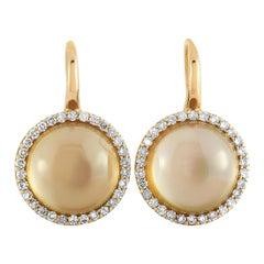 Roberto Coin 18 Karat Rose Gold Diamond and Smoky Quartz Lever Back Earrings