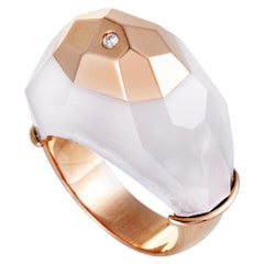 Roberto Coin 18 Karat Rose Gold Diamond and White Quartz Ring