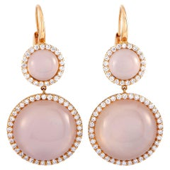 Roberto Coin 18 Karat Rose Gold Diamond Pave and Pink Quartz Lever Back Earrings