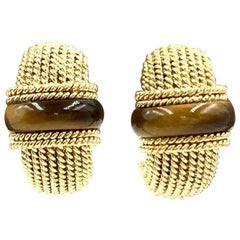 Roberto Coin 18 Karat Tiger's Eye Roped Half Hoop Earrings
