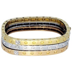 Roberto Coin 18 Karat Tri-Gold Square Bangle Set with Diamonds