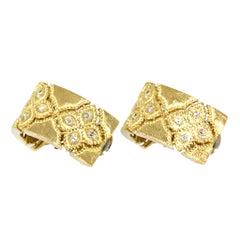 Roberto Coin 18 Karat White and Yellow Gold Venetian Princess Diamond Earrings