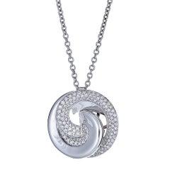 18k White Gold Chain 0.75 Ctw Round Diamond Accent Swirl Pendant by Roberto Coin