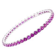 Roberto Coin 18 Karat White Gold and Pink Sapphire Bangle Bracelet