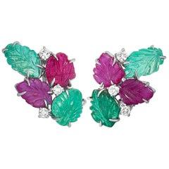 Roberto Coin 18 Karat White Gold Diamond, Emerald and Ruby Omega Back Earrings