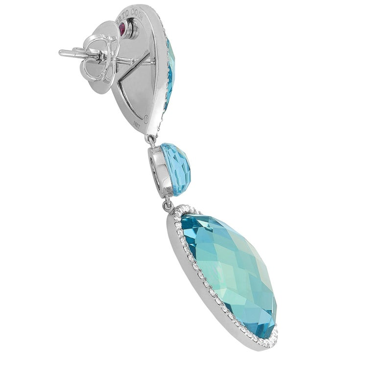Round Cut Roberto Coin 18 Karat White Gold Diamond Pave and Topaz Earrings For Sale