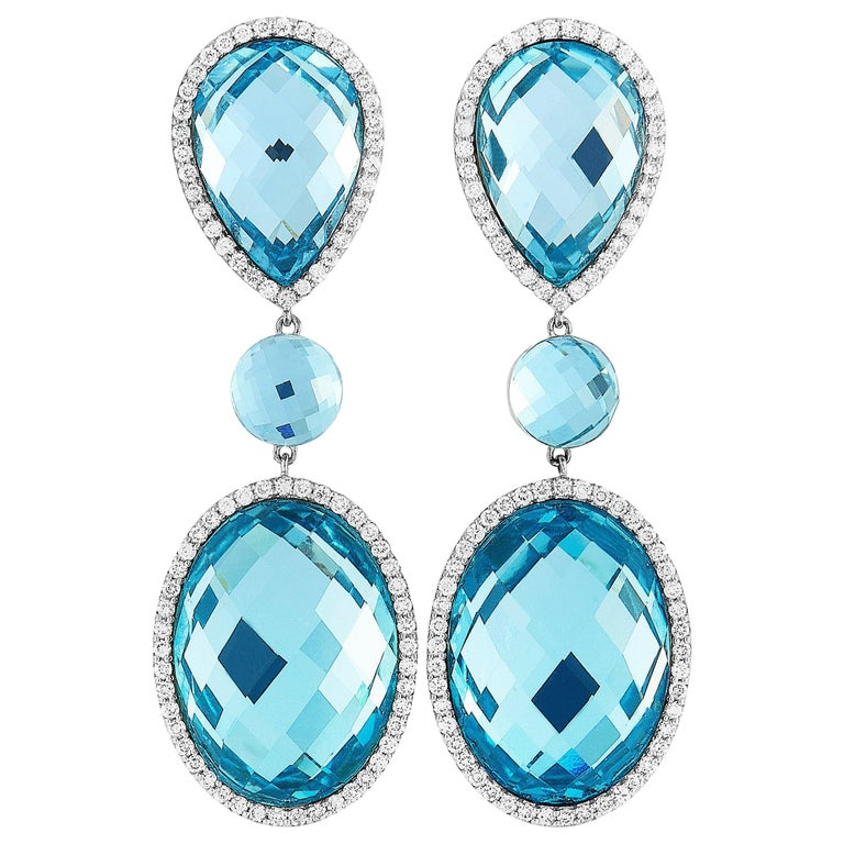 Roberto Coin 18 Karat White Gold Diamond Pave and Topaz Earrings For Sale