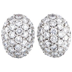 Roberto Coin 18 Karat White Gold Diamond Pave Oval Push Back Earrings