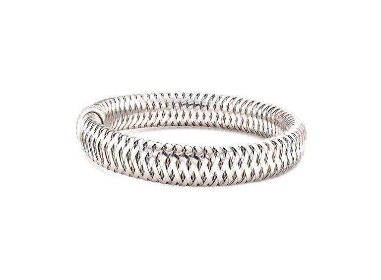 Round Cut Roberto Coin 18 Karat White Gold Diamond Primavera Mesh Bracelet