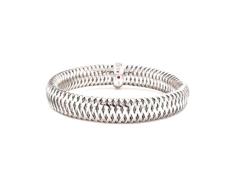 Roberto Coin 18 Karat White Gold Diamond Primavera Mesh Bracelet In Excellent Condition In Scottsdale, AZ