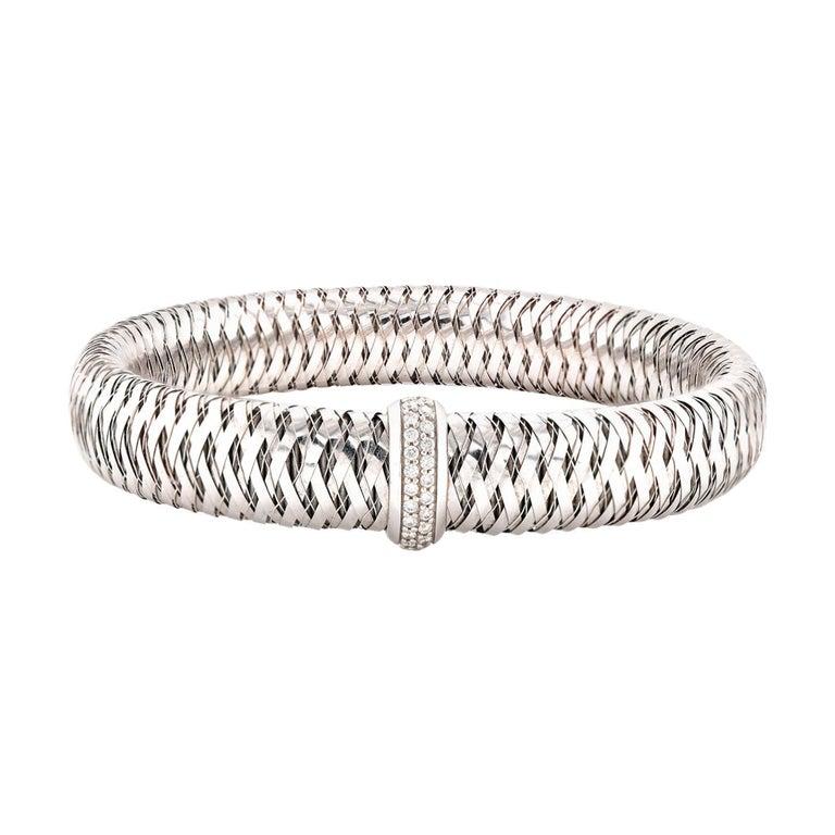 Roberto Coin 18 Karat White Gold Diamond Primavera Mesh Bracelet