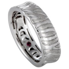 Roberto Coin 18 Karat White Gold Engraved Zebra Pattern Ring