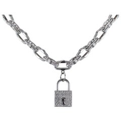 Roberto Coin 18 Karat White Gold Link Necklace with Diamond Lock Pendant
