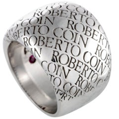 Roberto Coin 18 Karat White Gold Signature Ring