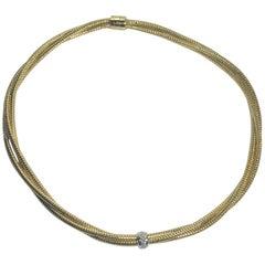 "Roberto Coin 18 Karat Yellow Gold and Diamond ""Primevera"" 3 Strand Necklace"