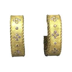 "Roberto Coin 18 Karat Yellow Gold and Diamond Square ""Princess"" Hoop Earrings"