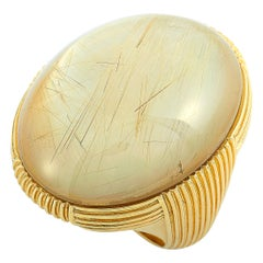 Roberto Coin 18 Karat Yellow Gold and Rutilated Mother of Pearl Ring