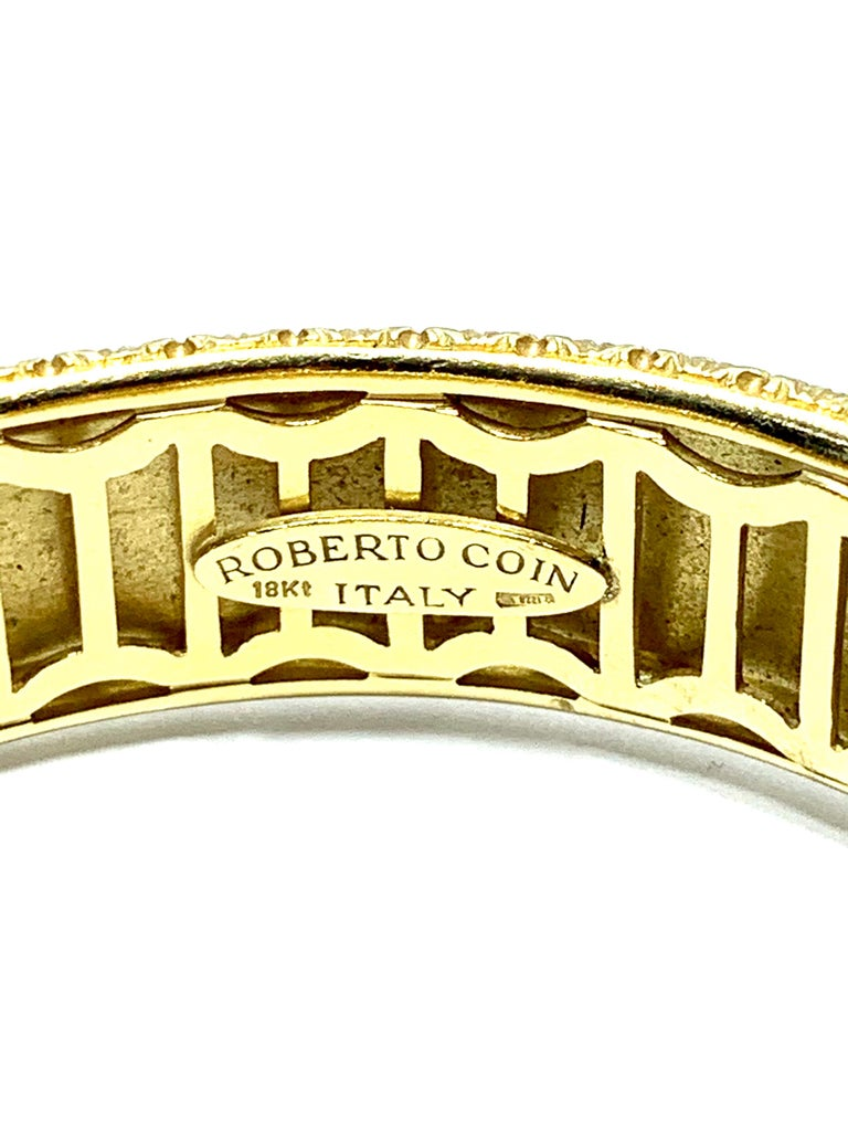Marquise Cut Roberto Coin 18 Karat Yellow Gold Bangle Bracelet with a Ruby Clasp For Sale