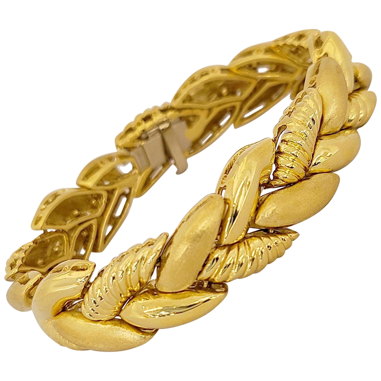 Roberto Coin 18 Karat Yellow Gold Braided Bracelet 55.30 Grams