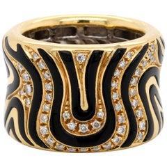 Roberto Coin 18 Karat Yellow Gold Diamond and Enamel Zebra Ring