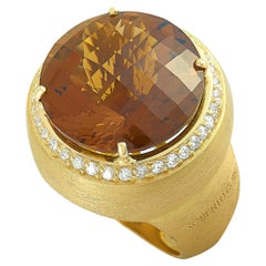 Roberto Coin 18 Karat Yellow Gold Diamond and Honey Quartz Round Ring