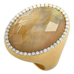 Roberto Coin 18 Karat Yellow Gold Diamond and Rutilated Quartz Ring