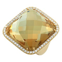 Roberto Coin 18 Karat Yellow Gold Diamond and Smoky Quartz Ring