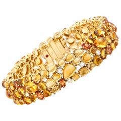 Roberto Coin 18 Karat Yellow Gold Diamond, Citrine and Orange Sapphire Bracelet