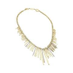 Roberto Coin 18 Karat Yellow Gold, Diamond, Elephant Skin, Dangle Stick Necklace
