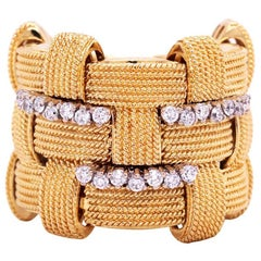 Roberto Coin 18 Karat Yellow Gold Diamond Three-Row Appassionata Ring