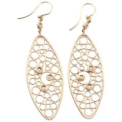 Roberto Coin 18 Karat Yellow Gold Filigree Diamond Drop Earrings