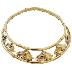 Roberto Coin 18 Karat Yellow Gold Vintage Collar Necklace with 7 Horse Heads