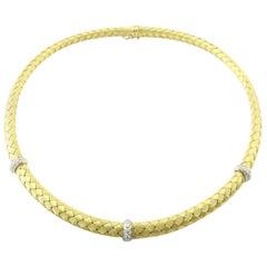 Roberto Coin 18 Karat Yellow Woven Silk 3 Station Diamond Necklace Choker