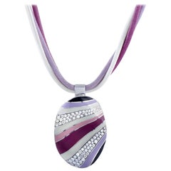 Roberto Coin 18K Gold .56 ct Diamond and Lavender, Pink & White Enamel Necklace