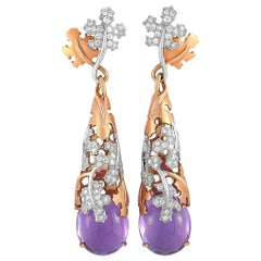 Roberto Coin 18K Rose and White Gold Diamond and Amethyst Long Drop Earrings