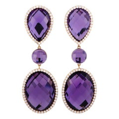 Roberto Coin 18K Rose and White Gold Diamond and Amethyst Oval Drop Earrings
