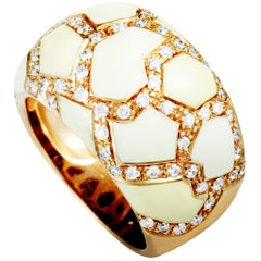 Roberto Coin 18 Karat Rose Gold Diamond and White Enamel Ring