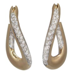 Roberto Coin 18K Rose Gold Pave Oval Link Hoop Earrings