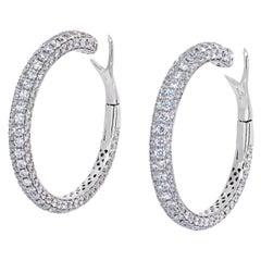 Roberto Coin 18K White Gold 15 Carat Diamond Hoop Earrings