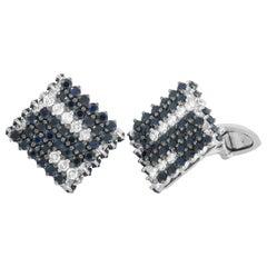 Roberto Coin 18 Karat White Gold Diamond and Black Sapphire Cufflinks
