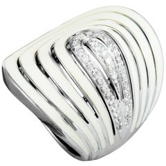 Roberto Coin 18 Karat White Gold Diamond and White Enamel Pave Band Ring