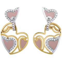 Roberto Coin 18K Yellow and White Gold Diamond and Pink Enamel Heart Dangle Push