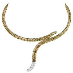 Roberto Coin 18k Yellow Gold 1.00 Ct Diamond and Enamel Viper Necklace