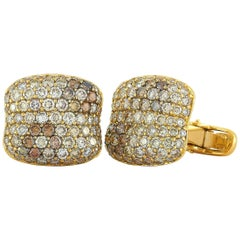 Roberto Coin 18 Karat Yellow Gold Diamond Cufflinks