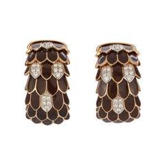 Roberto Coin 18k Yellow Gold Diamond & Enamel Animalier Feather Huggie Earrings